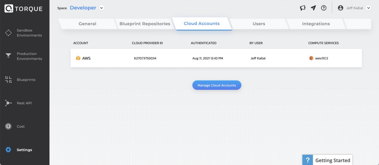 Quali-Torque-Cloud Accounts-AWS-Azure-Kubernetes